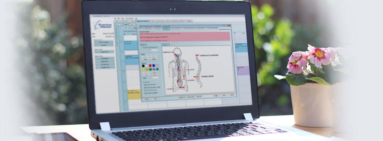 Practice Master Pro Multi-Modal Allied Health Software on a Laptop